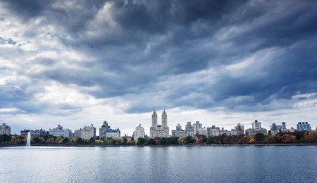 Upper West Side Skyline from Central Park in fall, New York City photo