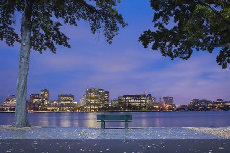 Boston Charles River Basin at night, Boston Massachusetts. photo