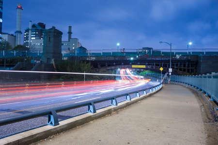 trafic: Boston city streets at night, car trafic light trails