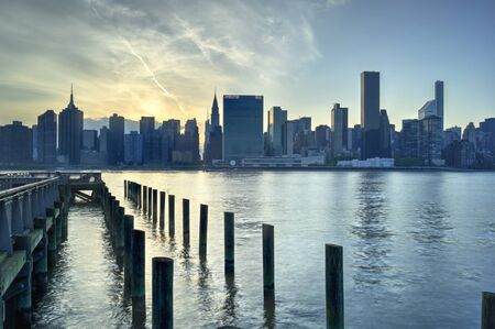 united nations: United nations building on Manhattan New York City Skyline Sunset Stock Photo