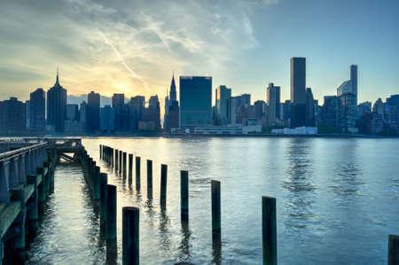 united nations: Naciones Unidas que construyen en Manhattan, Nueva York City Sunset Foto de archivo