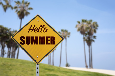 sinlight: Hello Summer Sign Concept on The Beach