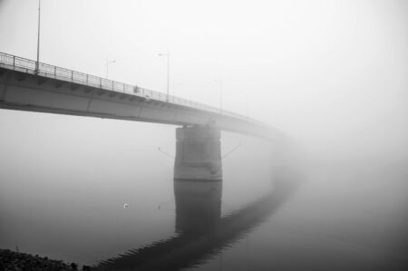 Bridge on foggy morning in Novi Sad, Serbia