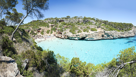 sunroof: Beautiful turquoise clear water of mediterranean at Majorca beach Calo des Moro, Spain