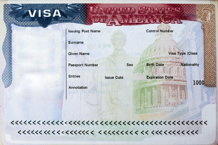 Passport with USA visa entry admitted Stok Fotoğraf - 67558032