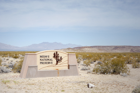 Entrance to the vast and beautiful Mojave National Preserve in the state of California Stock Photo