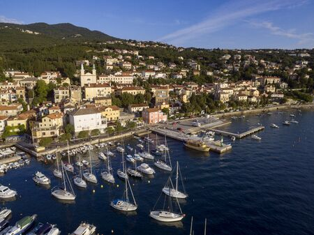 Aerial View of Mediterranean sea in Opatija, Croatia Stok Fotoğraf