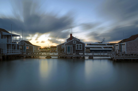 Harbor House in quiet and calm Sunset in Nantucket Island, Long Exposure
