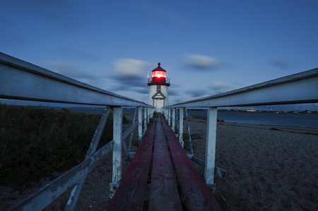 Brant Point Lighthouse at Night, famous tourist attraction and Landmark of Nantucket Island Stok Fotoğraf