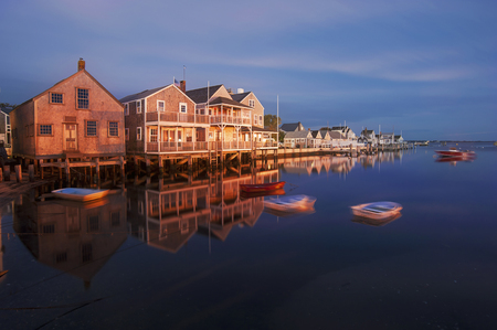 Harbor Houses in quiet and calm Sunset in Nantucket Island Stok Fotoğraf