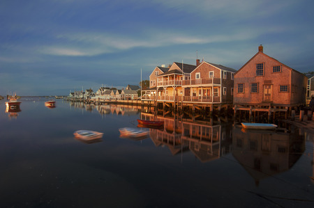 Harbor Houses in quiet and calm Sunset in Nantucket Island Stock Photo