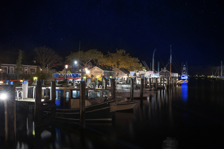 Straight Wharf Harbor Night Nantucket Island