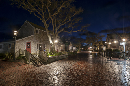 Straight Wharf quiet and calm Night after rain on Nantucket Island Stok Fotoğraf