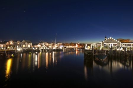 Harbor of Nantucket Island at Clear Stary Night Stok Fotoğraf