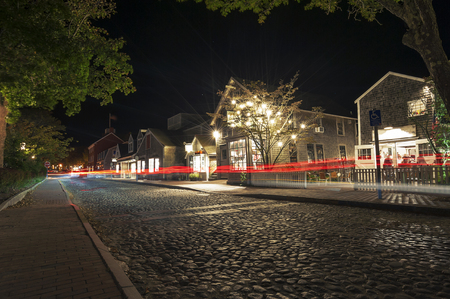 Main Street, famous tourist attraction and Landmark of Nantucket Island Stok Fotoğraf