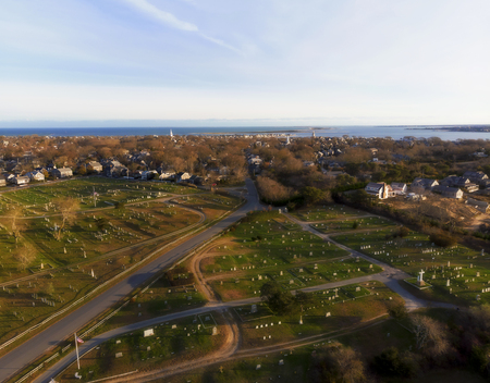 Beautiful Aerial View from Above, Sunset on Nantucket Island, Massachusetts