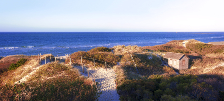 Steps beach sunset view, famous tourist attraction and Landmark of Nantucket Island