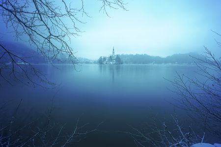 Winter sunrise at Famous Bled Lake National Park Slovenia Stok Fotoğraf