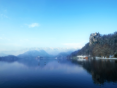 Beautiful Sunny day at Famous Bled Lake National Park Slovenia