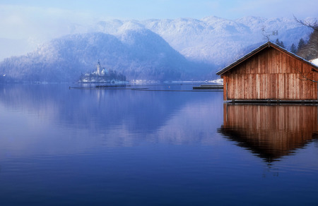 Boat House at Famous Bled Lake National Park Slovenia