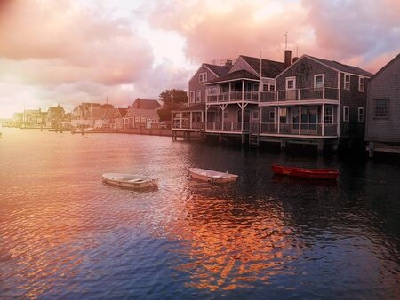 Harbour House in dramatic Stormy Summer Sunset in Nantucket Island