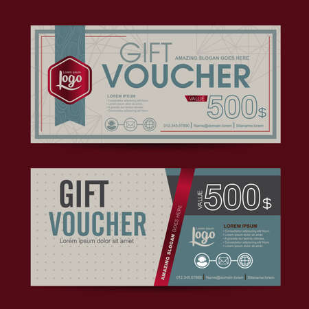 reward: Gift voucher template with colorful pattern,cute gift voucher certificate coupon design template, Collection gift certificate business card banner calling card poster,Vector illustration
