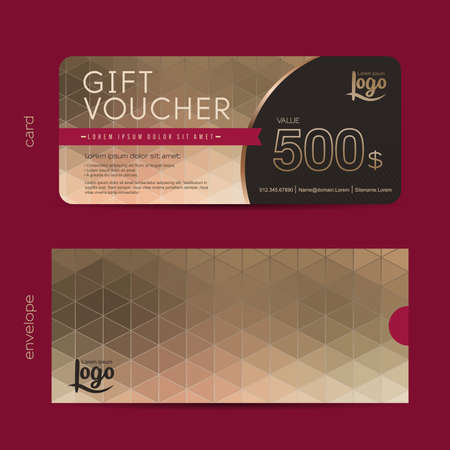 Gift voucher template with premium pattern and envelope design,cute gift voucher certificate coupon design template, Collection gift certificate business card banner calling card poster,Vector illustration 矢量图像