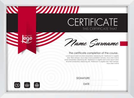 certificaat sjabloon met schone en moderne patroon, Kwalificatie certificaat lege sjabloon met elegante, Vector illustratie