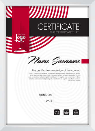 Zertifikatvorlage mit sauberen und modernen Muster, Qualifikationsbescheinigung leere Vorlage mit eleganten, Vektor-Illustration Standard-Bild - 45102556