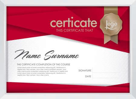 Modello di certificato con il modello pulito e moderno, d'oro di lusso, modello vuoto certificato di qualificazione con elegante, illustrazione vettoriale Archivio Fotografico - 45162169