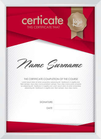 certificate: certificate template with clean and modern pattern, Luxury golden,Qualification certificate blank template with elegant,Vector illustration