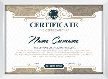 qualification: certificate template with clean and modern pattern, Luxury golden,Qualification certificate blank template with elegant,Vector illustration