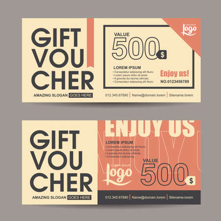 Gift voucher template with vintage pattern,retro gift voucher certificate coupon design template,Collection gift certificate business card banner calling card poster,Vector illustration