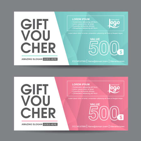 gift: Gift voucher template with colorful pattern,cute gift voucher certificate coupon design template, Collection gift certificate business card banner calling card poster,Vector illustration