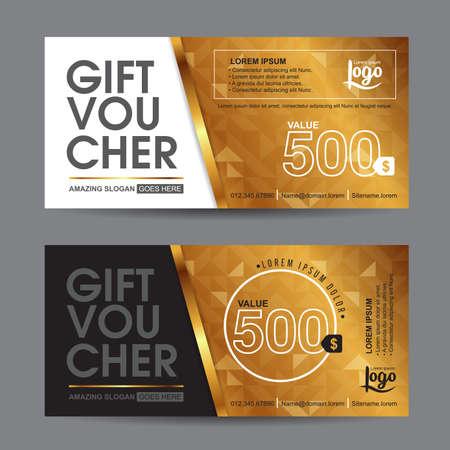 facture restaurant: Mod�le de bon de cadeau avec le mod�le premium, ch�que cadeau certificat coupon mod�le de conception, Collection certificat-cadeau cartes de visite banni�re affiche de carte d'appel, Vector illustration