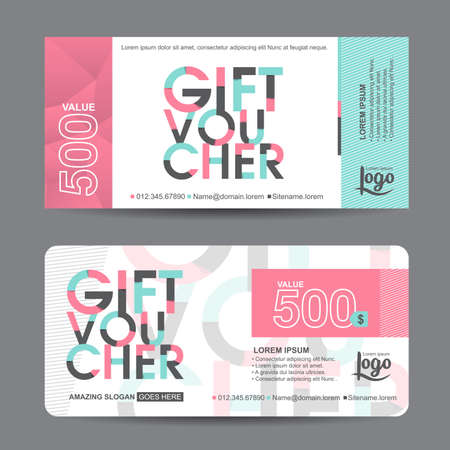 cute: Gift voucher template with colorful pattern,cute gift voucher certificate coupon design template, Collection gift certificate business card banner calling card poster,Vector illustration