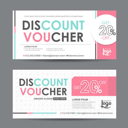 discount voucher template with colorful pattern,cute gift voucher certificate coupon design template, Collection gift certificate business card banner calling card poster,Vector illustration Çizim