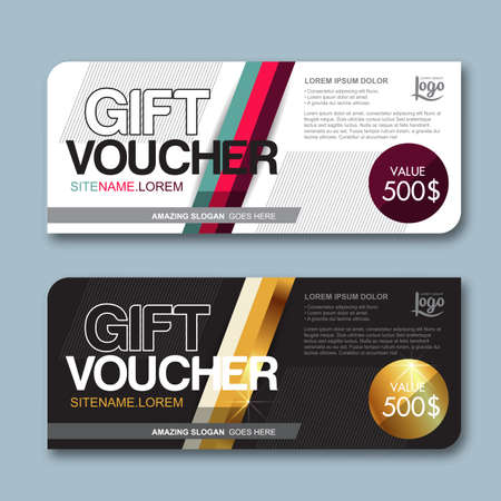 discount coupon: Gift voucher template with colorful pattern,cute gift voucher certificate coupon design template, Collection gift certificate business card banner calling card poster,Vector illustration