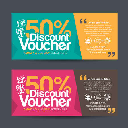 discount card: Gift voucher template with colorful pattern,cute gift voucher certificate coupon design template, Collection gift certificate business card banner calling card poster,Vector illustration