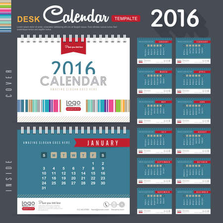 events: Desk Calendar 2016 Vector Design Template with abstract pattern. Set of 12 Months. vector illustration Illustration
