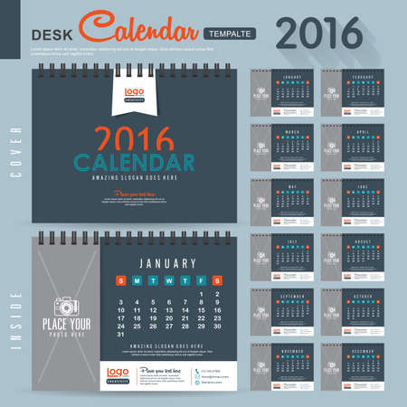 calendario julio: Calendario de escritorio 2016 del vector plantilla de dise�o con el modelo abstracto. Conjunto de 12 Meses. ilustraci�n vectorial