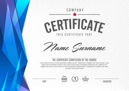 certificado: plantilla de certificado con el patrón limpio y moderno, ilustración vectorial
