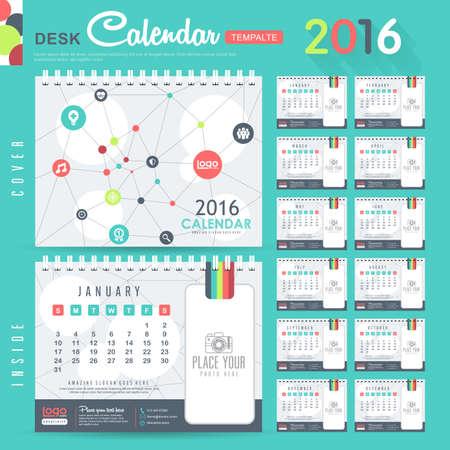 calendar: Calendrier de bureau 2,016 Vector Design Mod�le avec motif abstrait. Ensemble de 12 mois. illustration vectorielle