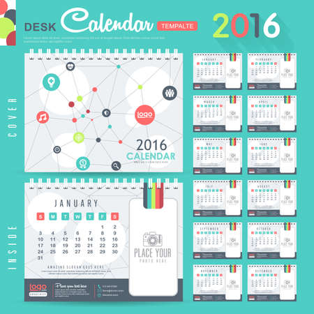 january calendar: Desk Calendar 2016 Vector Design Template with abstract pattern. Set of 12 Months. vector illustration Illustration