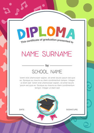 child girl: Preschool Kids Diploma certificate background design template