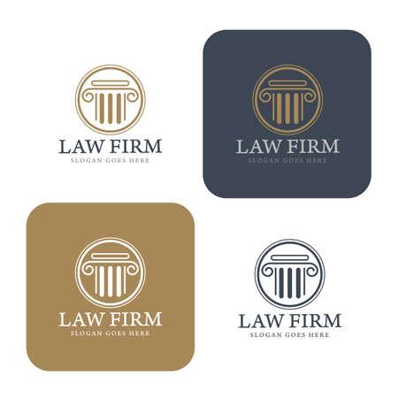 firme: Logotipo de la Ley, bufete de abogados, asesoría jurídica, Logotipo Ley Modelo de la identidad corporativa, identidad corporativa, vector ilustrador Vectores
