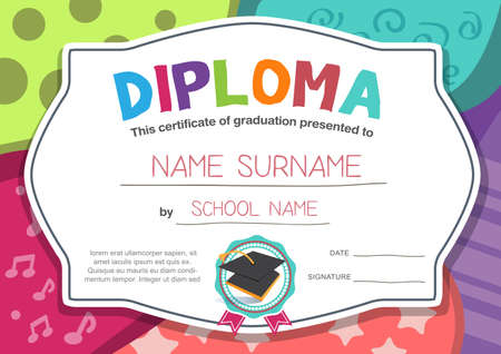 an achievement: Preschool Kids Diploma certificate background design template