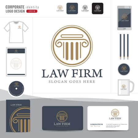 Logotipo de la Ley, bufete de abogados, asesoría jurídica, Logotipo Ley Modelo de la identidad corporativa, identidad corporativa, vector ilustrador Foto de archivo - 46178884