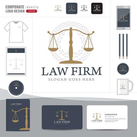 papírnictví: Zákon logo, advokátní kancelář, advokátní kancelář, právo Logotype šablona corporate identity, Corporate identity, vektor ilustrátor