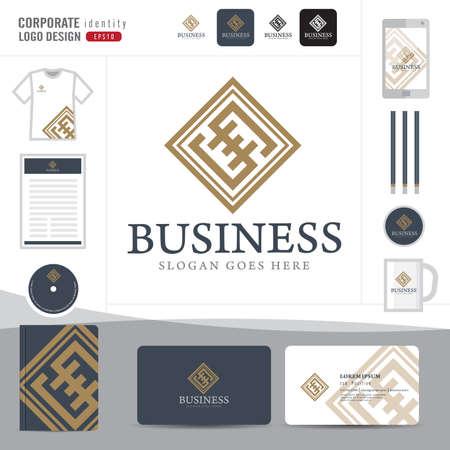 firma: Logotipo de la Ley, bufete de abogados, asesoría jurídica, Logotipo Ley Modelo de la identidad corporativa, identidad corporativa, vector ilustrador Vectores